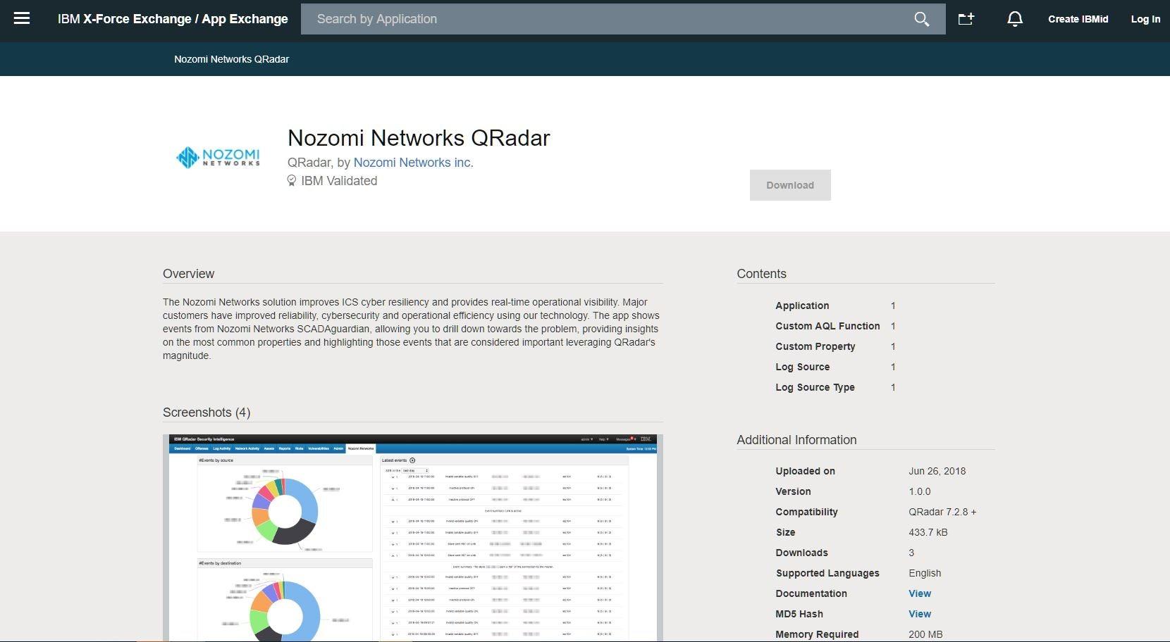 NN QRadar on IBM X-Force Exchange