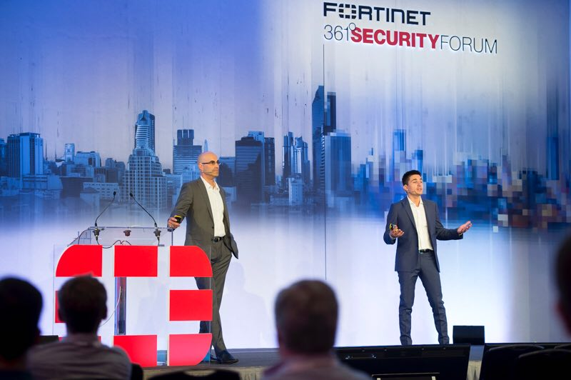 Chet-Namboodri-and-Andrea-Carcano-on-stage-at-the-Fortinet-361-Security-Forum
