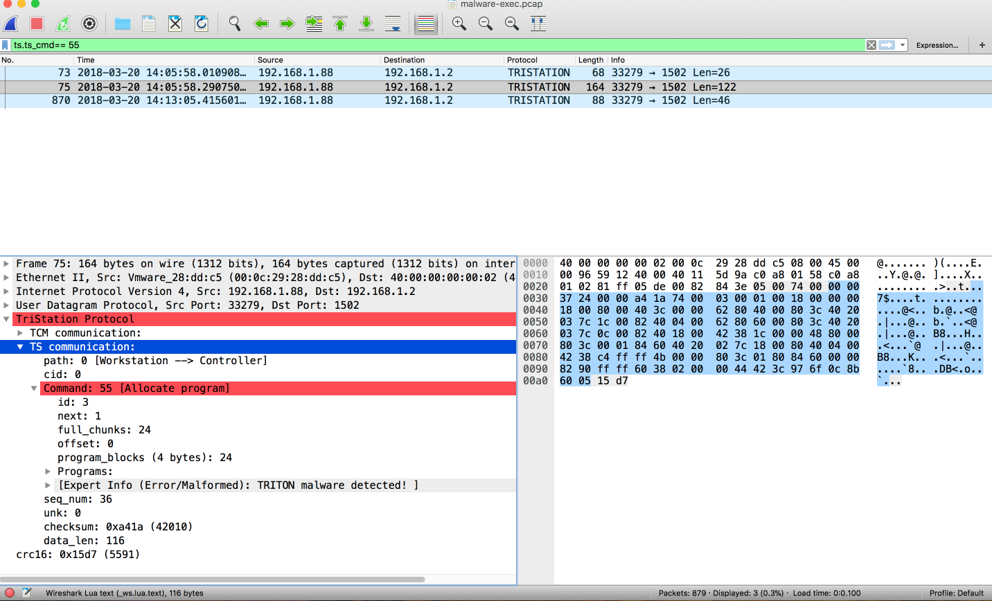 New TRITON Analysis Tool: Wireshark Dissector for TriStation Protocol
